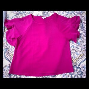 Fuschia ruffle sleeve top